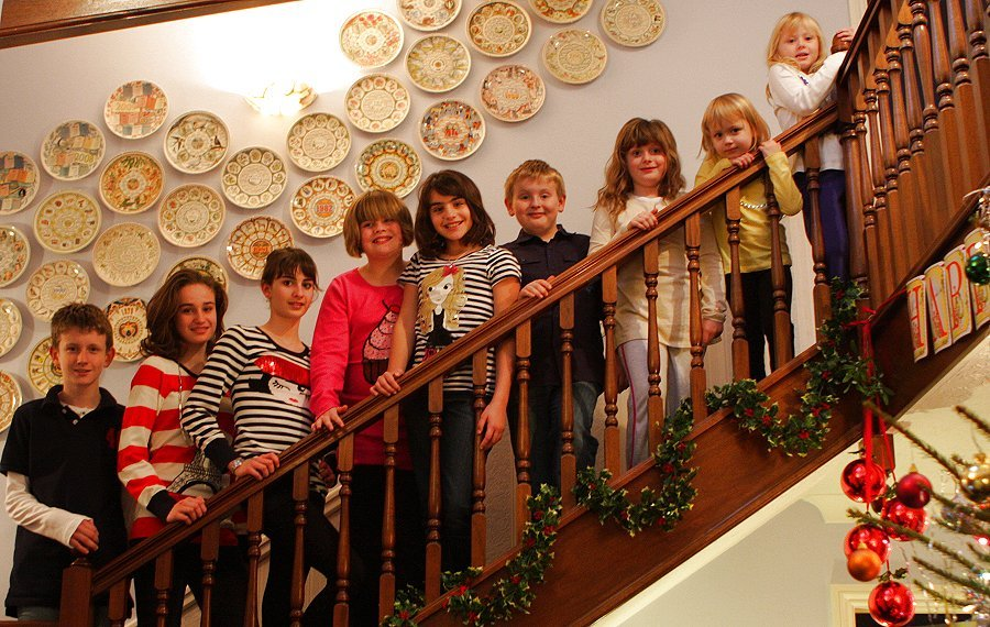 Margaret and Maurice's grandchildren, All lined up and ready for Christmas.