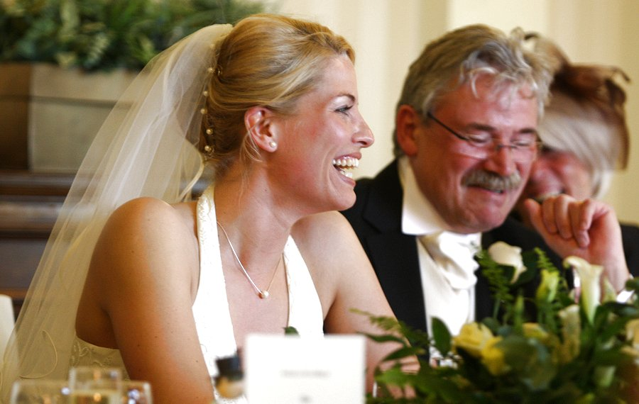 Top table. Ludi and her father listening to the Best Man's speech.