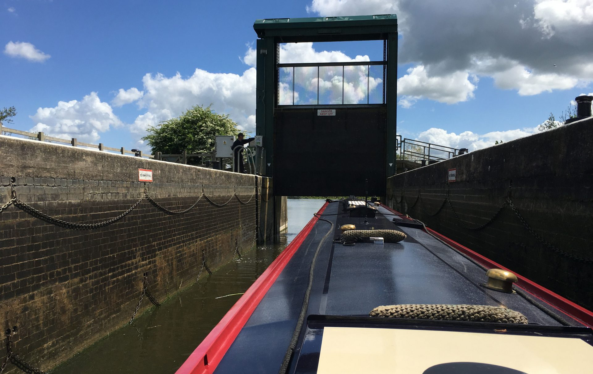 Electric gate. River Nene on our way to Norfolk to visit our daughter Elizabeth.