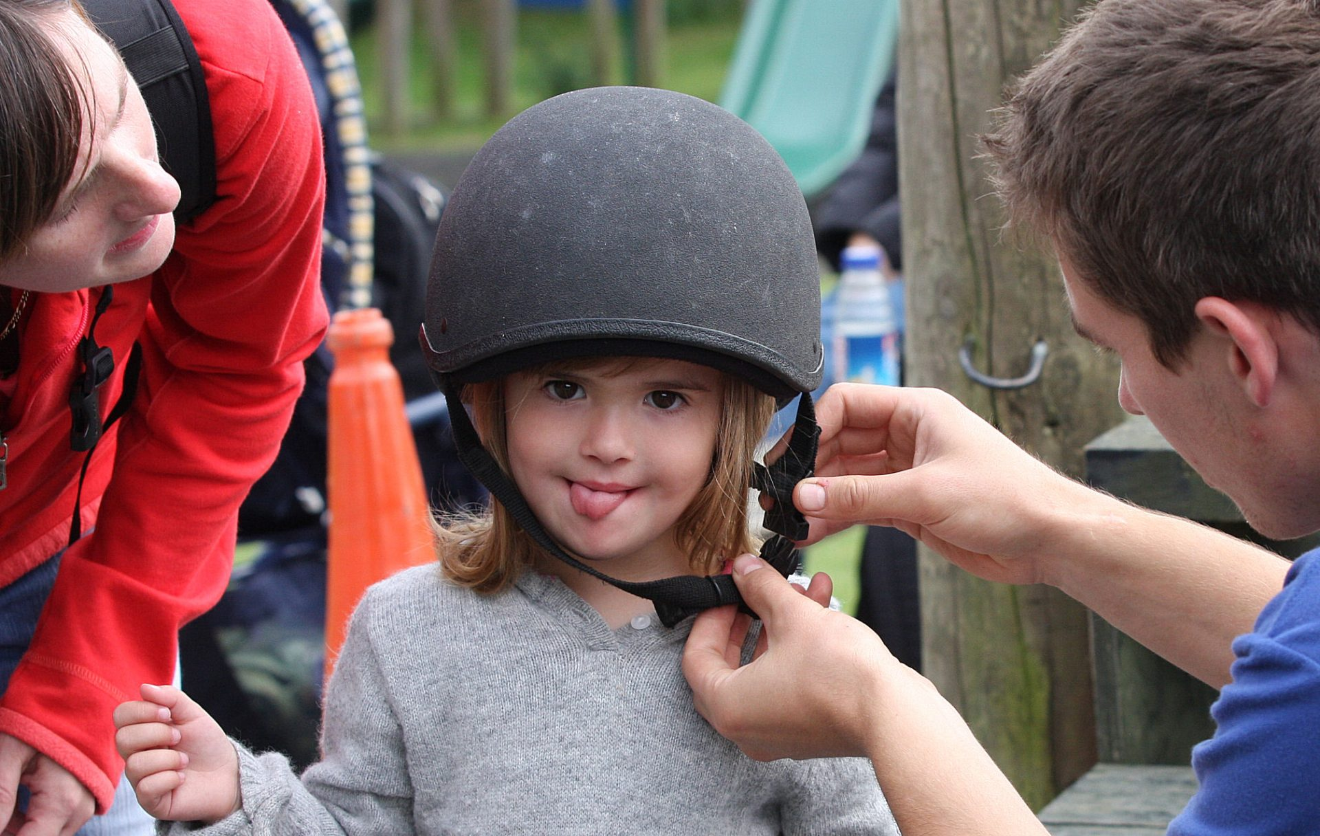 Preparing for a ride on the horse. At the Miniature Pony Centre in Moretonhampstead, sadly now closed.