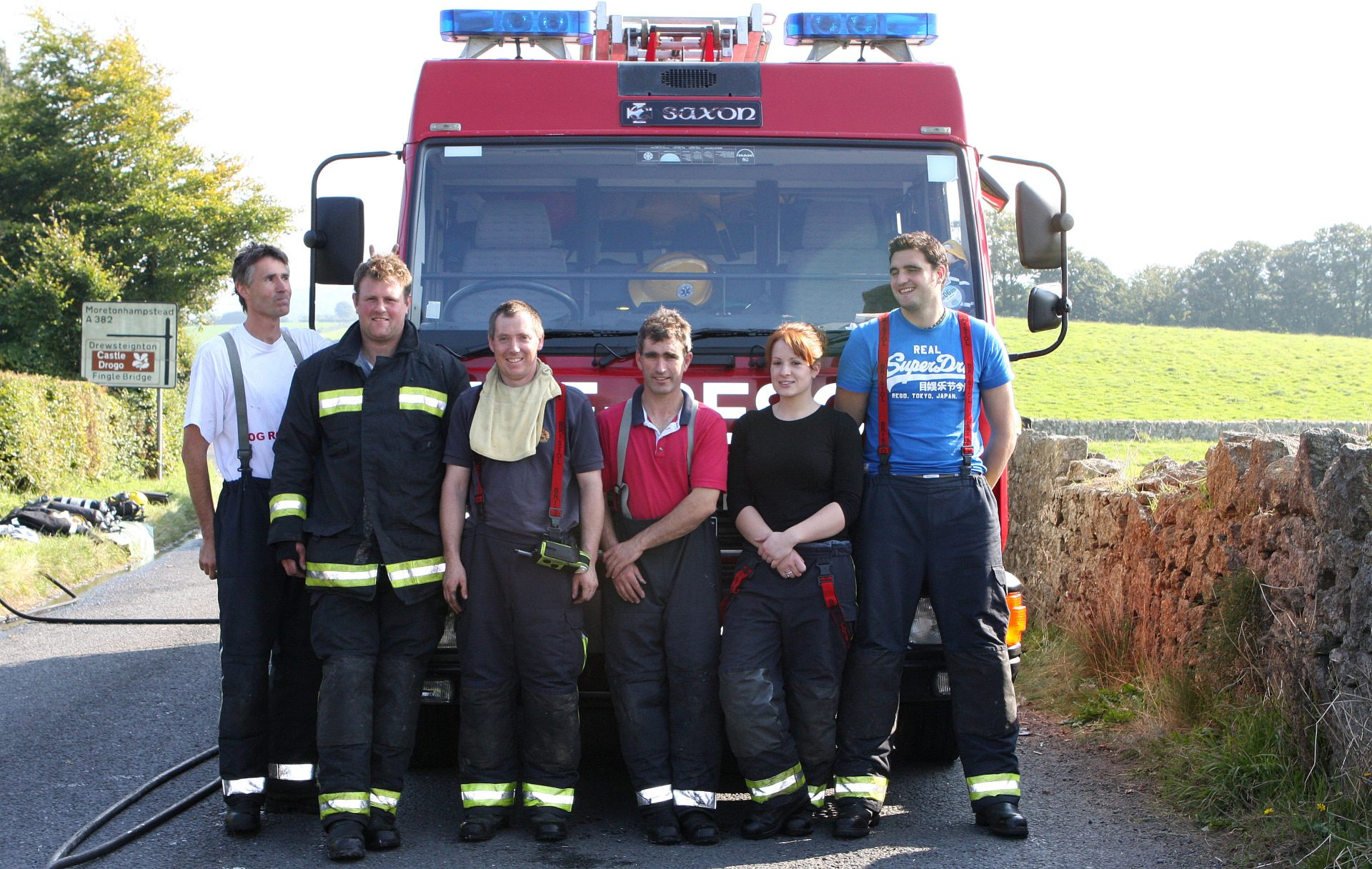 Chagford Fire Crew after tending to the lorry fire. Plenty of exploding rice pudding tins !