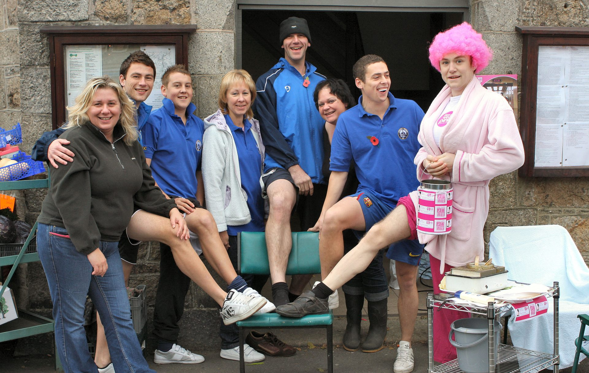 Leg shave for charity. I think for Breast Cancer Awareness.