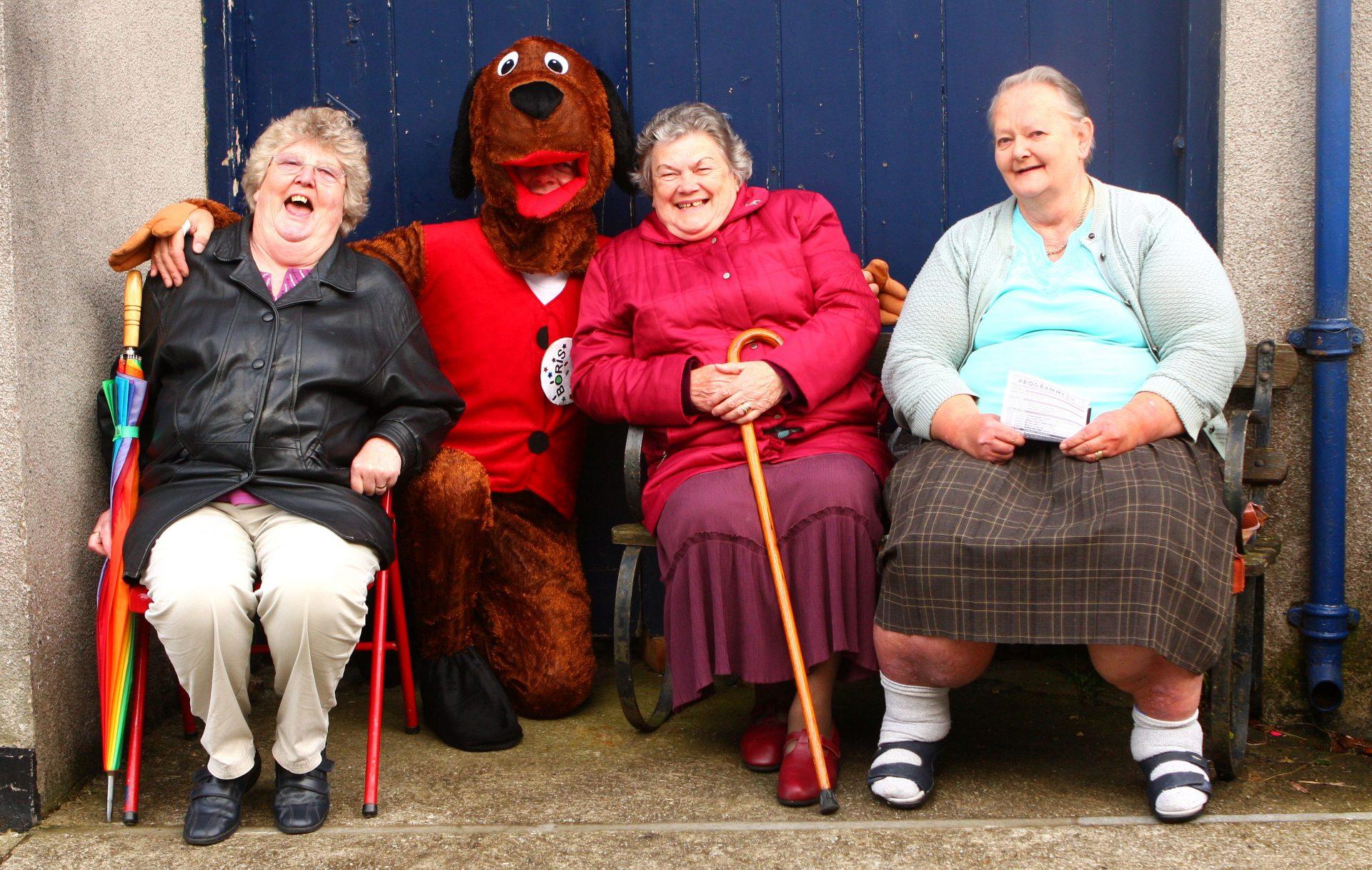 Ann, Gwen and Eileen, on Eileen's bench.