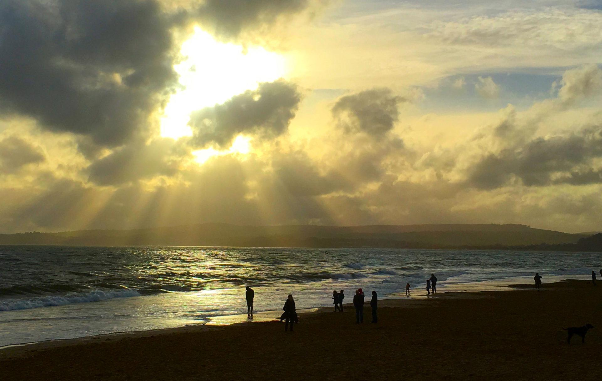 The same Exmouth beach at sundown.  Our favourite beach walk.