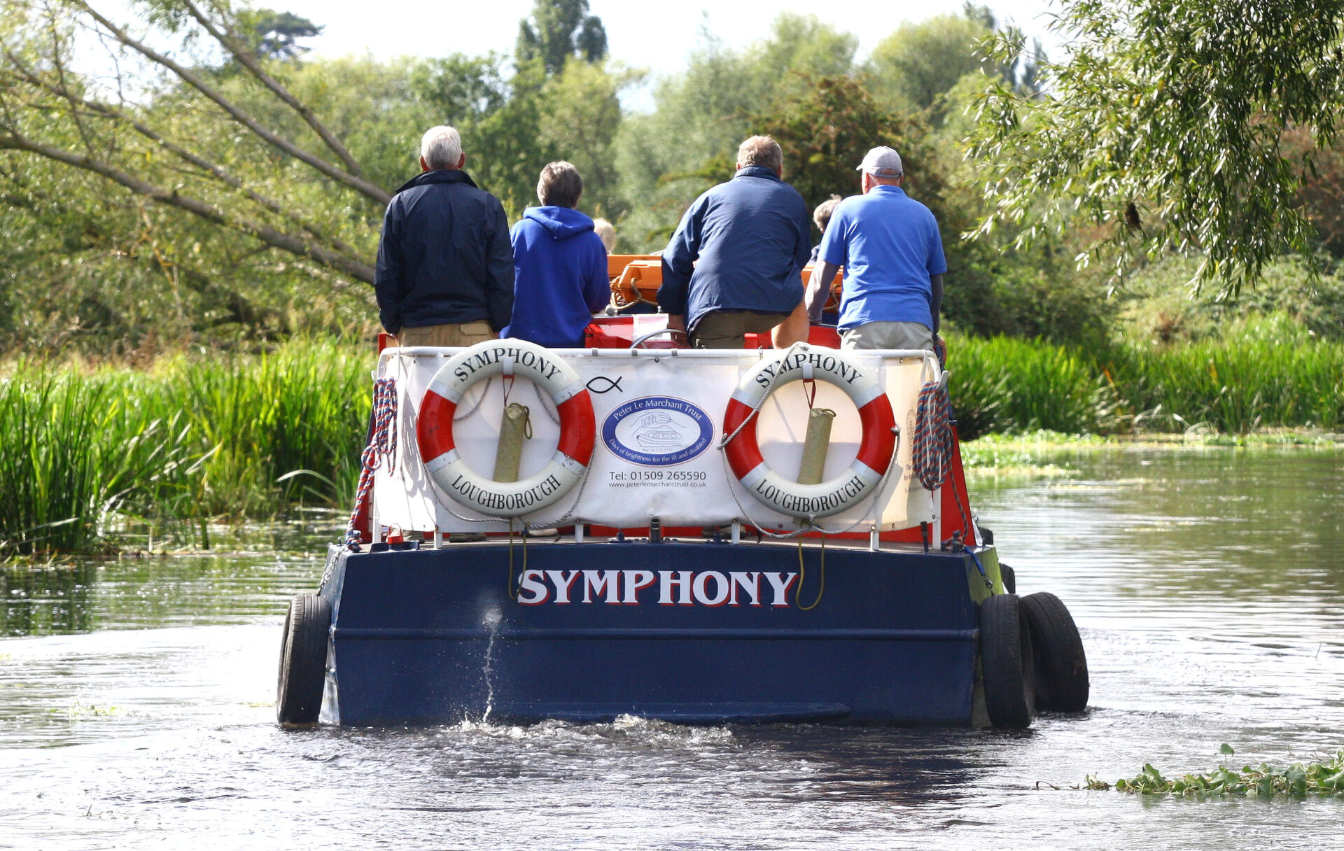 This is a charity boat on the River Soar in Leicester.