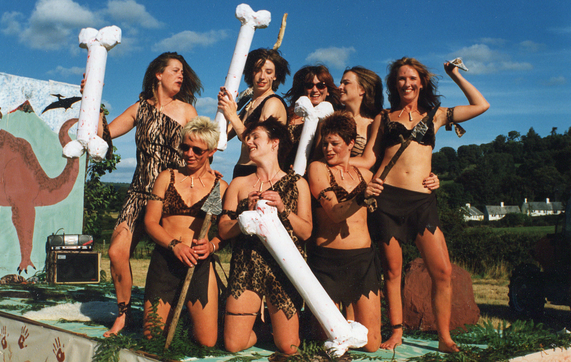 Eight Prehistoric beauties in the 1998 Chagford Carnival.