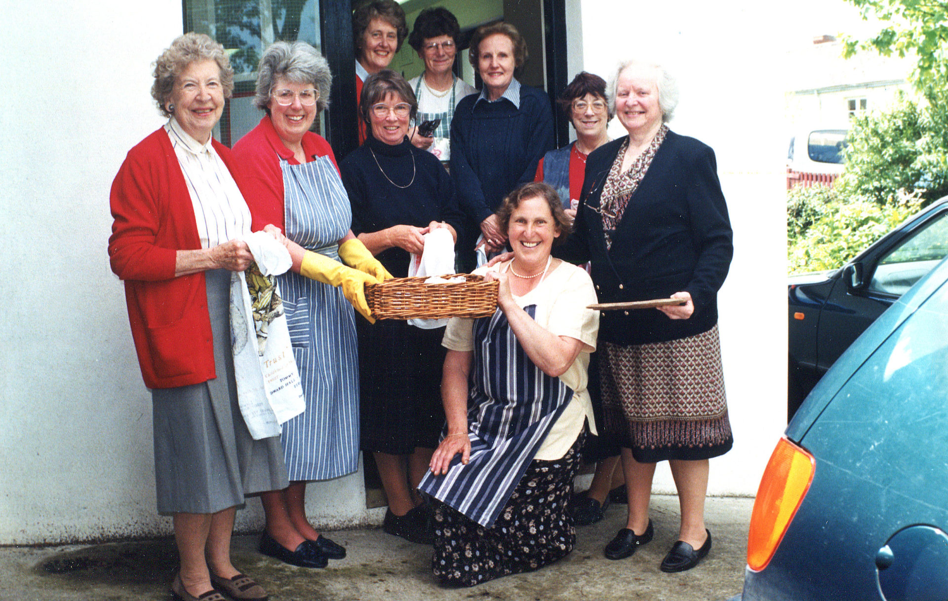 Christian Aid Lunch Back Row: Margaret, Lyn, Wendy. Middle row 2 Pams, Ann, Lorna, Jean with Alison kneeling.