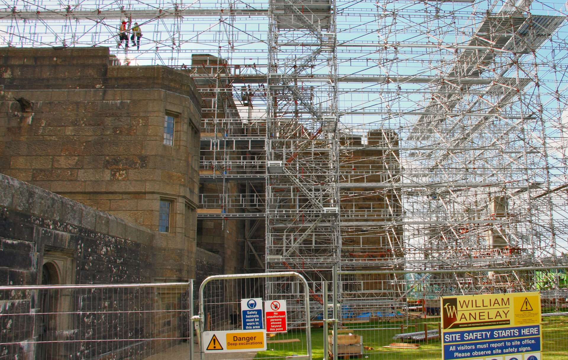 National Trust property Castle Drogo, in 2013. Roof repairs grand scale.