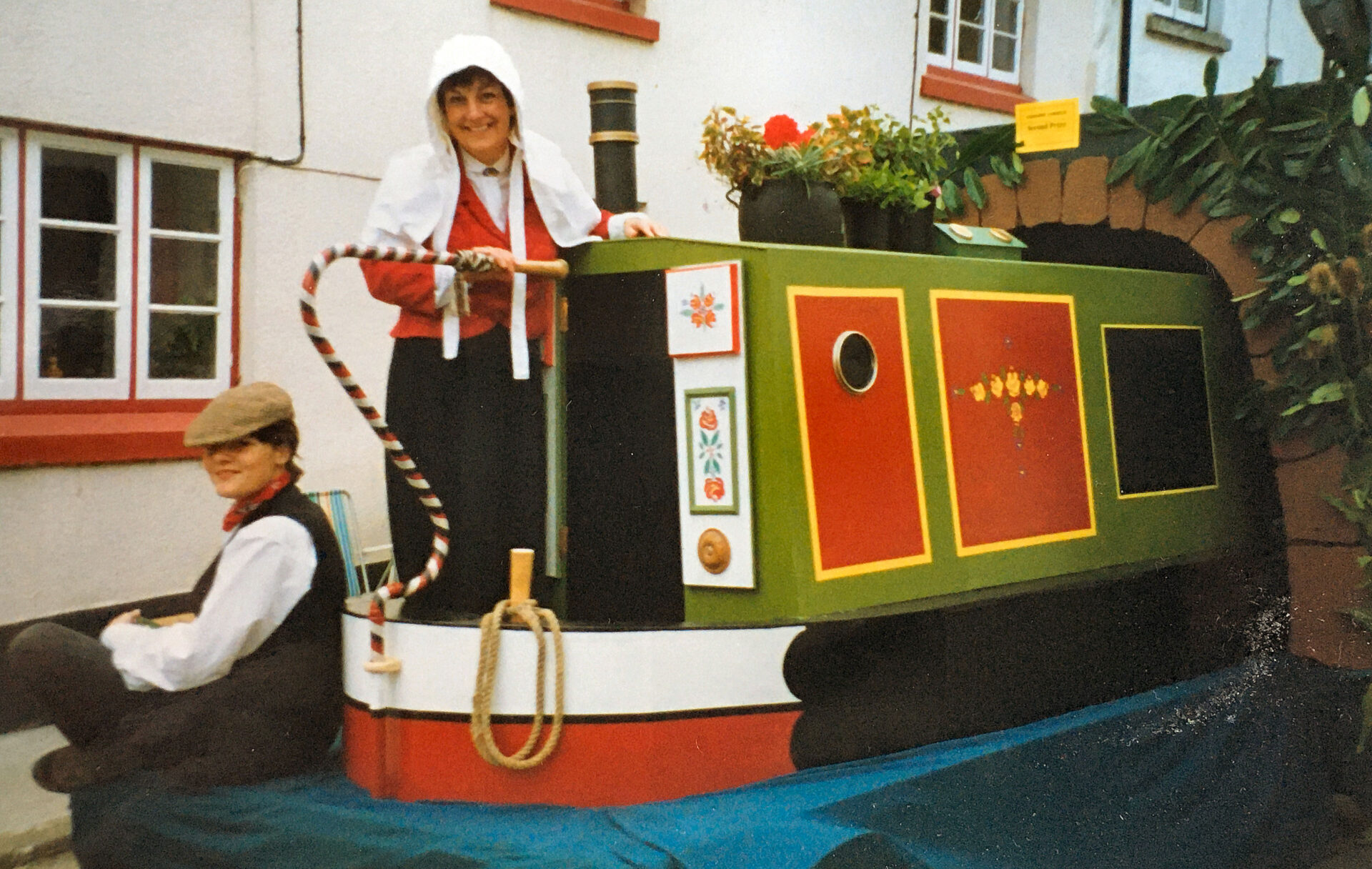 This was a carnival float that Rob and I made in the 1980's. Note the heron. Porthole made from a paint tin lid !