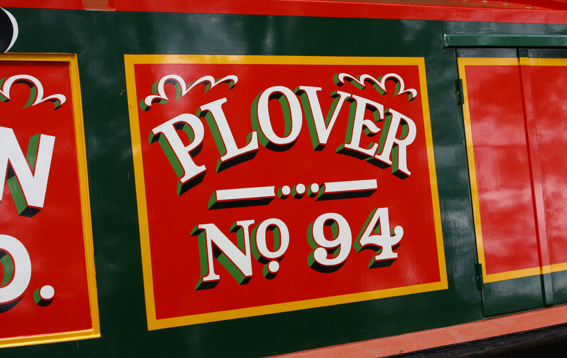 Great Canal boat names.  Nb. PLOVER in traditional livery.