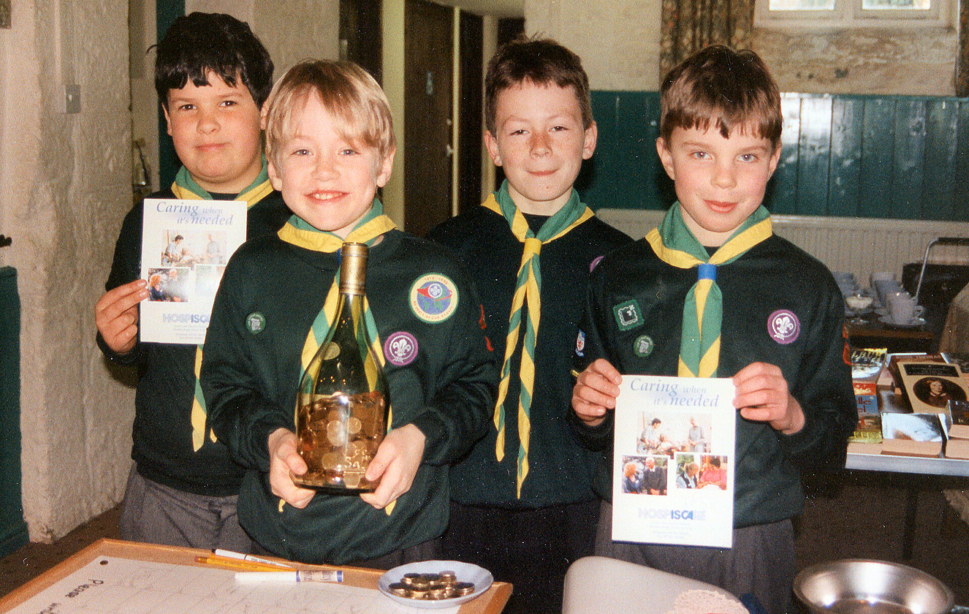 Proud Chagford Cubs in 1998. 'Caring when it's needed'.