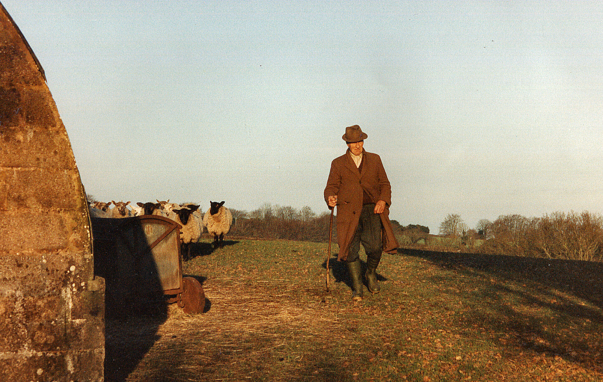 """Our good neighbour Charles Mead from Murchington """"seeing to his flock of sheep""""."""
