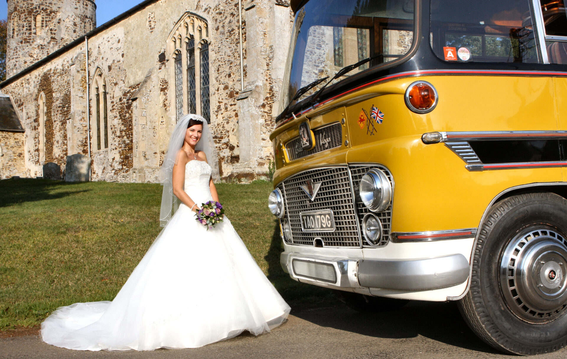 When a vintage coach is one of the wedding guests.....