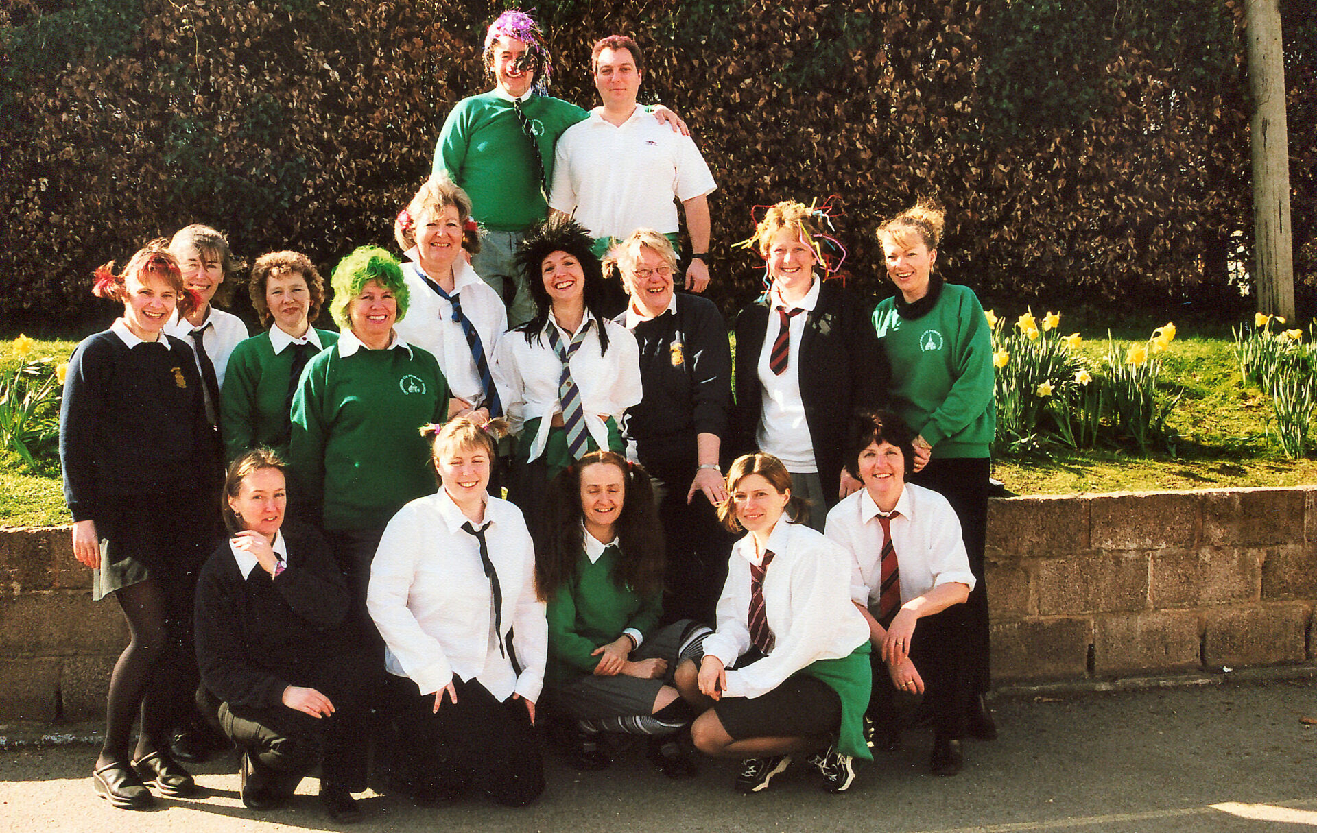 Red Nose Day in 2003 when teachers and staff wore the children's uniform for the day and the pupils wore red choices.
