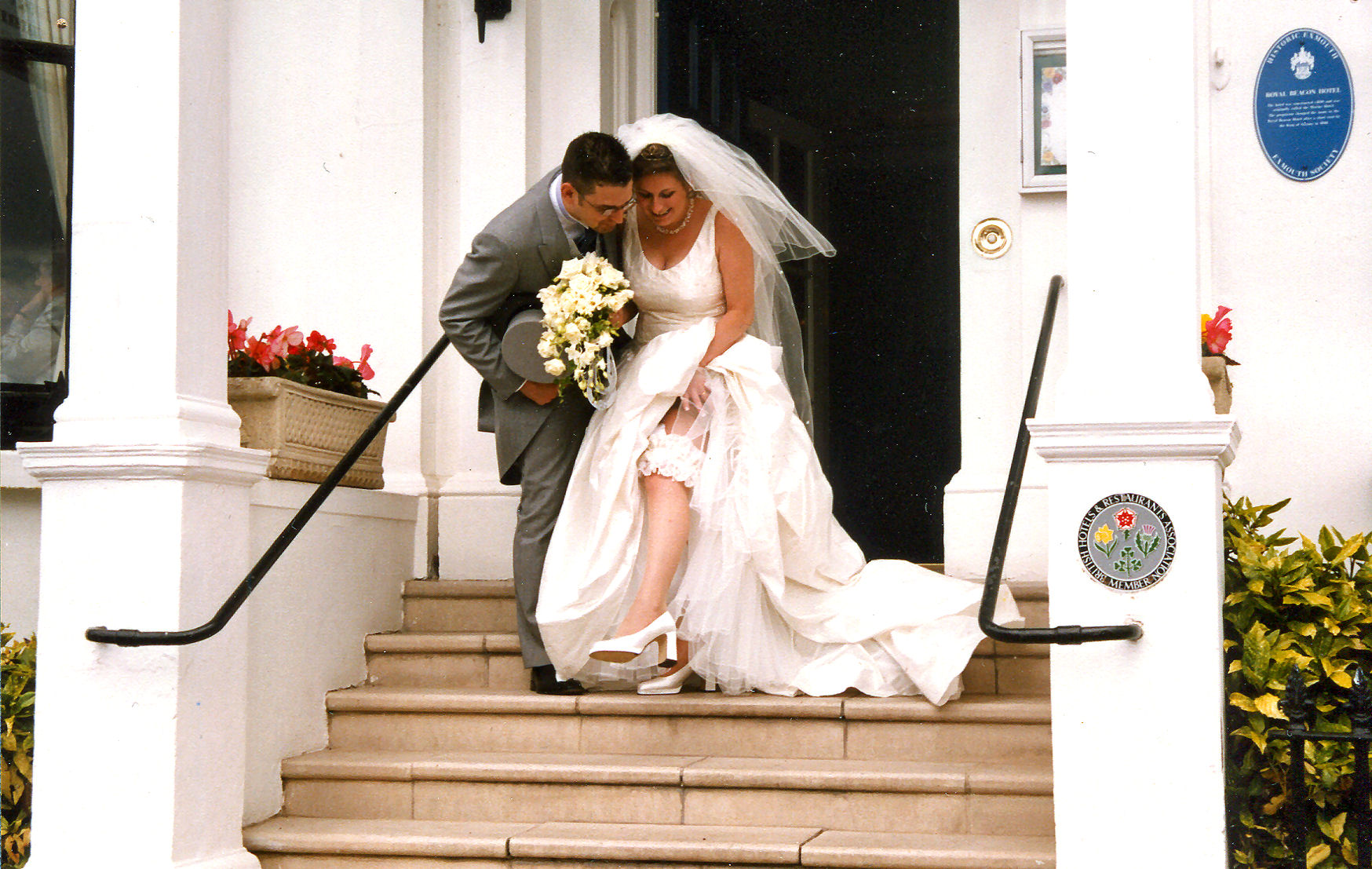 Paul and Kate at their 2001 wedding reception at The Royal Beacon in Exmouth.