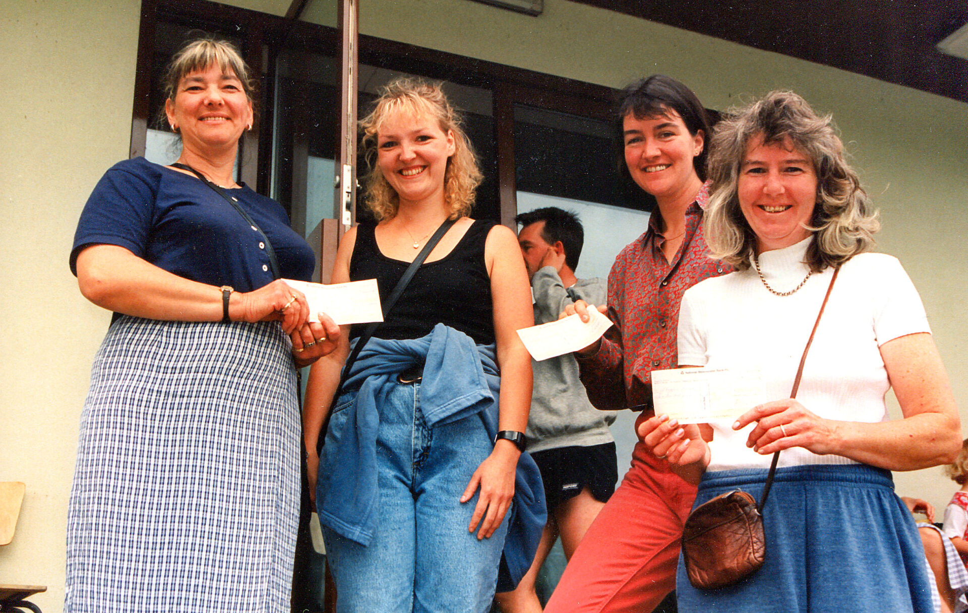 The cheque presentations at the Cricket Pavilion, Jubilee Field in 1998.