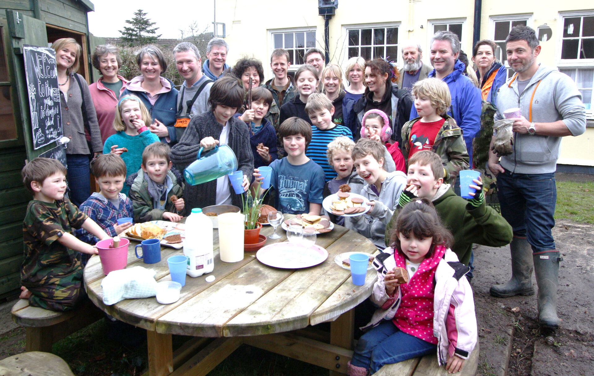 Chagford School tidy up in February 2012. Chilly but everyone was well wrapped up. Even Eric had stout footwear on !