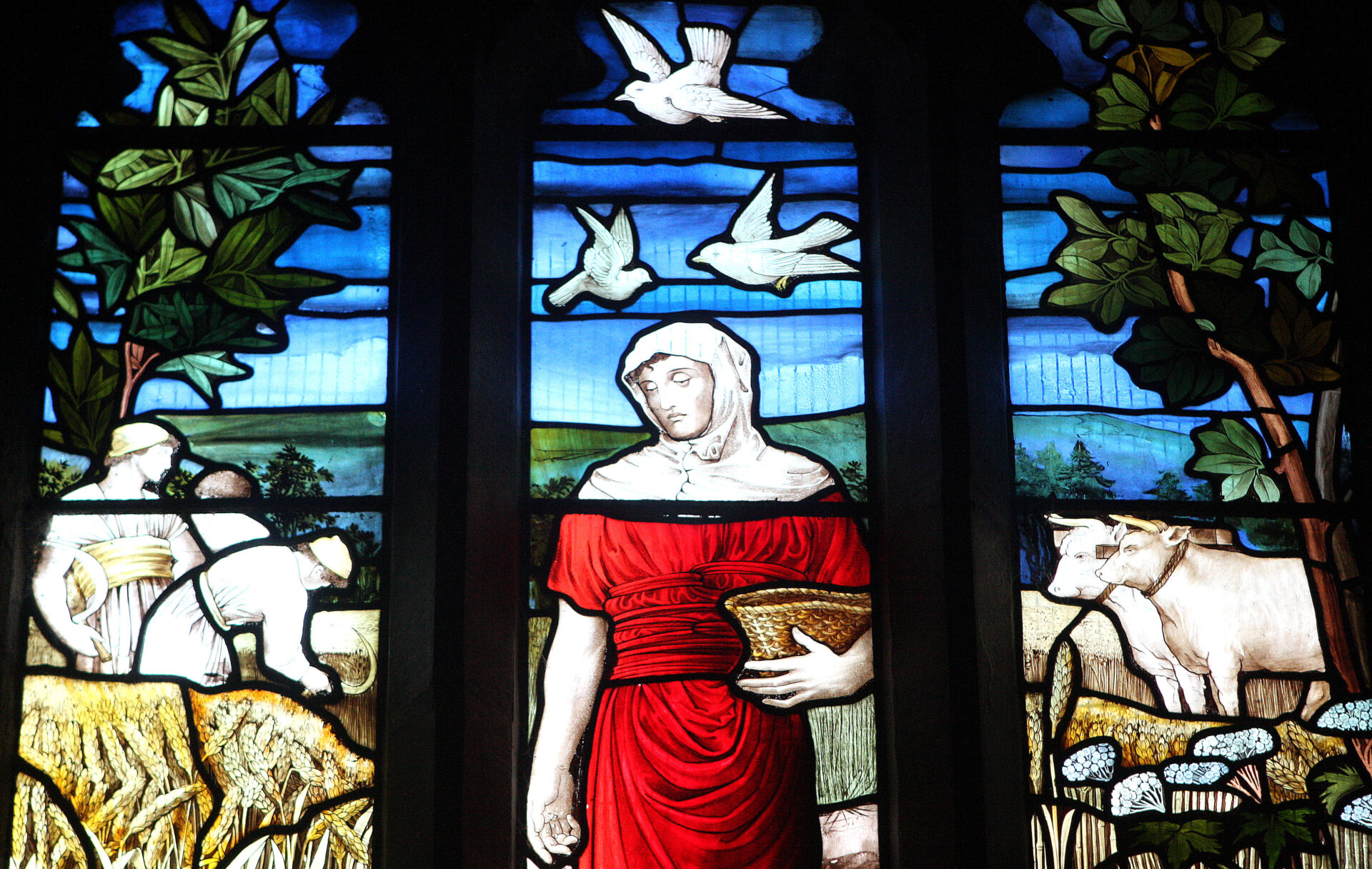 Jump off the bus at Lydford and see this fabulous stained glass window in St. Petroc's church.