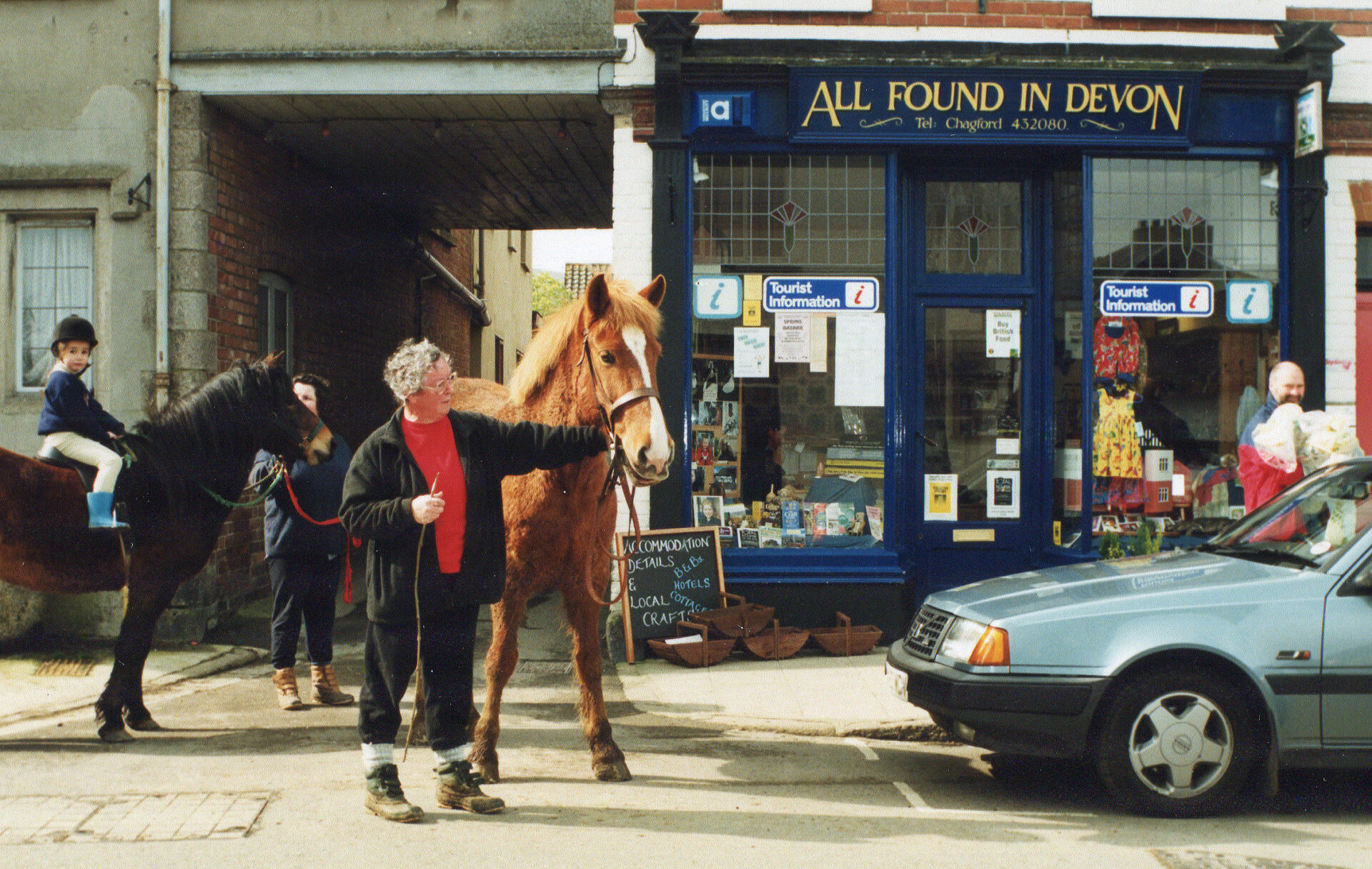Sheila Tharby with her horse  outside my All Found in Devon shop next to The Three Crowns. Happy days.